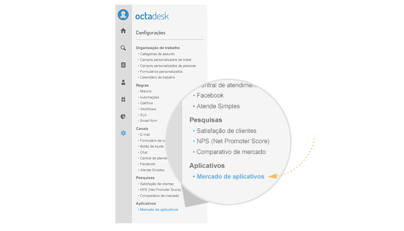 mercado aplicativos octadesk menu