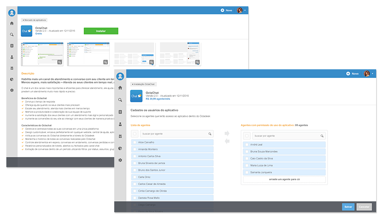 mercado aplicativos octadesk telas chat