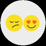 emoticons tickets em categorias boas ou más